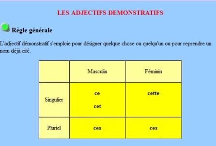 adjectifs démostratifs, grammaire