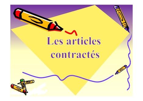 ARTICLES CONTRACTES GRAMMAIRE